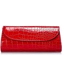 Bundle Monster Womens Fashion Classy Envelope Evening Patent Croc Skin Embossed Clutch Hand Bag Purse