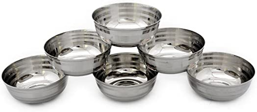 Hazel Stainless Steel Small Bowl, Silver, 6 Pieces