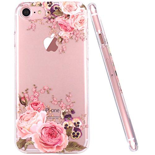 iPhone 7 Hülle, JIAXIUFEN TPU Silikon Schutz Handy Hülle Handytasche HandyHülle Etui Schale Schutzhülle Case Cover für Apple iPhone 7 / iPhone 8 - Rose Flower