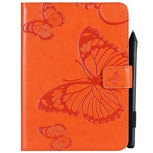 JUFENGYAO Schmetterlings-Blumen-Blumenmuster PU-Leder-Mappen-Stand-Tablette-Kasten für Amazonas Kindle Paperwhite 4 (10. Generation-2018) 6,0 Zoll Tablethülle (Farbe : Orange) (10 Leder-tabletten-kasten)