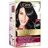 L'Oréal Paris Excellence Creme, Tinta Colorante con Triplo Trattamento Avanzato, Copre i Capelli Bianchi, 1 Nero