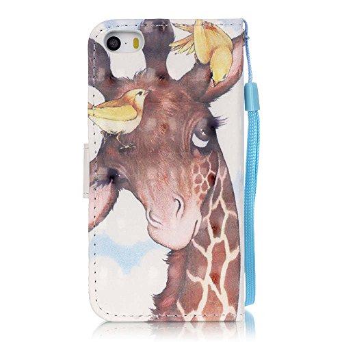 C-Super Mall-UK Apple iPhone 7 Plus hülle: exquisit gemalten 3D Muster PU-Leder Brieftasche Stand Flip hülle für Apple iPhone 7 Plus(Schwarzer Schädel) Birds Deer