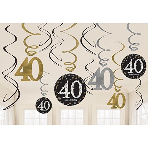 Preisvergleich Produktbild Amscan 670481Gold Celebration 40. Swirl Dekoration Value Pack