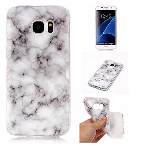 Meeter Samsung S7 Edge Hülle, Samsung Galaxy S7 Edge Marmor Hülle, Marmor Serie Flexible TPU Silikon Schutz Handy Hülle Handytasche HandyHülle Etui Schale Case Cover Tasche Schutzhülle