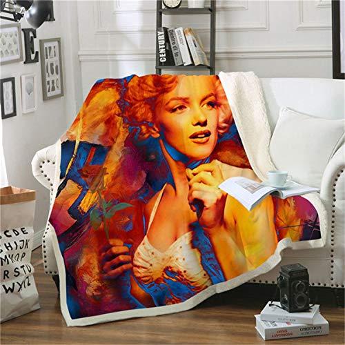 HAOTTP Kuscheldecke Ist Super Weich Beddingoutle Marilyn Monroe Ted Velve Plüsch Werfen TagesKuscheldecke Für Kinder Mädchen Sherpa Couch Quilt 100X140Cm -