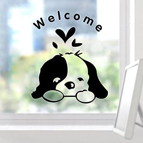 Zooarts Bienvenido Lovely perro extraíble adhesivo de pared vinilo adhesivos decoración mural