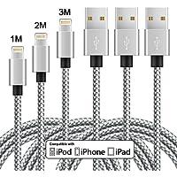 Cable Lightning AIMIUVEI 3Pack 1/2/3 M, Cable iPhone de Nylon Cable de Carga y Sincronización para Apple iPhone 7 / 7 Plus / 6S / 6S Plus / 6 / 6 Plus / 5 / 5S / 5C / SE, iPad Pro/ Air / mini, iPod (Blanco+Gris)