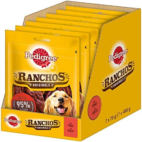 Pedigree Hundesnacks Hundeleckerli Ranchos Originals mit Rind, 7 Packungen (7 x 70 g)