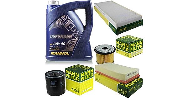 Filter Set Inspektionspaket 5 Liter Mannol Motoröl Defender 10w 40 Api Sl Cf Mann Filter Luftfilter Innenraumfilter Kraftstofffilter Ölfilter Auto