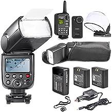 Neewer TT860 Bateria de Litio, Master Kit E-TTL Flash de la Cámara Speedlite de Canon 5D Mark 2 3 6D 7D Rebel 70D 60D 50D Digital T3 SL1 T5i T4i T3i Xti XT / EOS 1100D 100D 700D 650D 600D 400D 350D y Otra Canon Ditial Cámaras réflex, Incluye: (1) TT860 E-TTL del Flash + (1) 2.4G Disparo de Flash Inalámbrico + (2) Baterías Li-Ion + (1) Cargador de CA +(1) Cargador de Coche (1) Flash Suave Rebote Difusor + (1) Titular de la Tapa de la Lente
