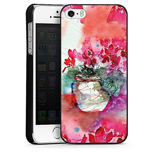 Apple iPhone 5s Housse Étui Protection Coque Tableau Roses Roses CasDur noir