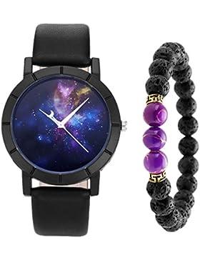 JSDDE Uhren,Geheimnisvoll Sternenhimmel Universum Armbanduhr + Färbten Imperialer Jaspis Balance Lava-Armband...