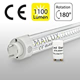 MAILUX MLXTT1023 T8 LED Röhre | G13 | 60cm | 10 Watt | klar | Leuchtstoffröhre | warmweiss 3000 K | ersetzt 18 Watt | mit Starter | VVG/KVG kompatibel