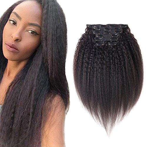viviabella 100 Cheveux Humains Double trame d'épaisseur/Extensions cheveux bouclés à clip Noir naturel 160 g 45,7 cm -28 \\