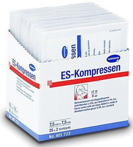 ES-KOMPRESSEN steril 7,5x7,5 cm 8fach 50 St Kompressen