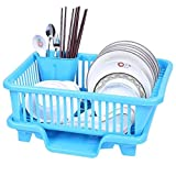 Techsun 3-in-1 Plastic Kitchen Sink Dish Plate Utensil Drainer Drying Rack Holder Basket