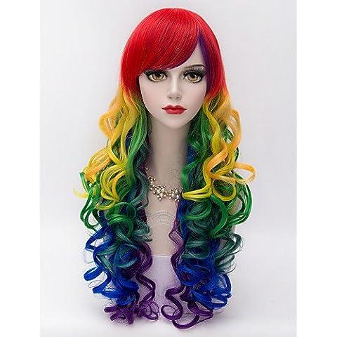 harajuku fashion party lungo viziosa capelli Bang lato ricci colori misti pendenza donne sexy lolita sintetico parrucca