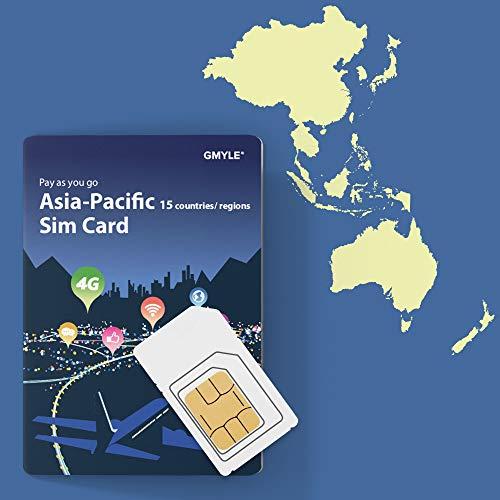 GMYLE 4G LTE/3G wiederaufladbare Prepaid SIM Karte mit 12 GB Datenvolumen Bündel Für 28 Tage in Asien-Pazifik 15 Länder und Regionen: China, Japan, Südkorea, Thailand, Philippinen, Hongkong usw.