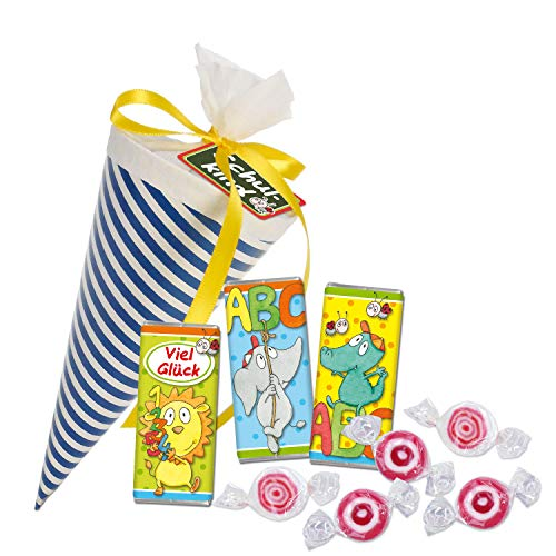 STEINBECK Schultüte gefüllt 15 cm Streifen blau Einschulung Schulkind Schulstart Geschenk Zuckertüte Bonbons Schokolade Geschenk Mitbringsel