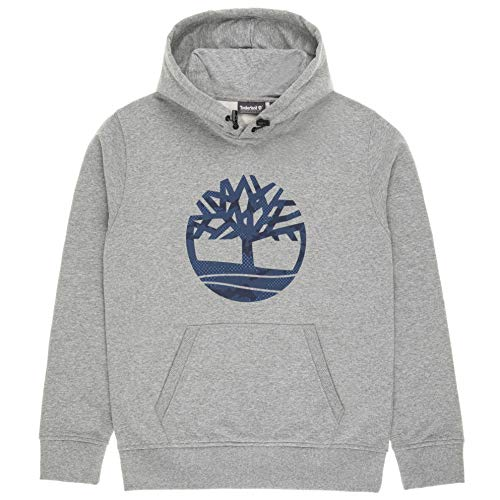 Timberland overhead classic logo hoodie felpa con cappuccio da uomo grigio, s