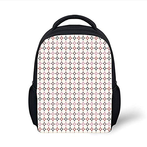 Kids School Backpack Retro,Hexagonal Shaped Cut Lines Attached Vertical Squares Delicate Modern Pattern,Multicolor Plain Bookbag Travel Daypack