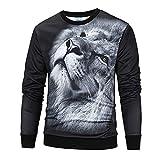 BaZhaHei Herren Langarmshirt Männer 3D Print Lion Hip Hop Langarm Pullover Sweatshirt Top Bluse Oberteile mit Coolem Druck