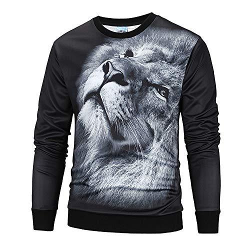 BaZhaHei Herren Langarmshirt Männer 3D Print Lion Hip Hop Langarm Pullover Sweatshirt Top Bluse...