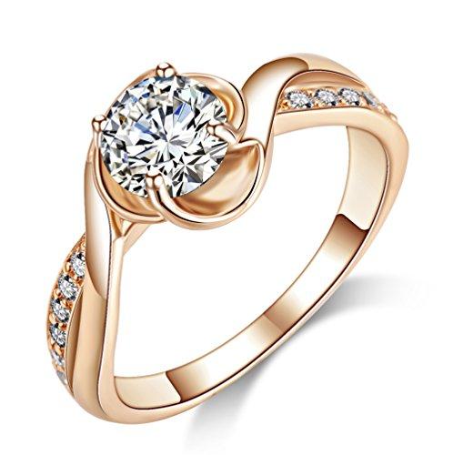 Acefeel, anello in oro rosa, con zirconi, ideale per fidanzamento e matrimonio , lega, 50 (15.9), cod. 0219