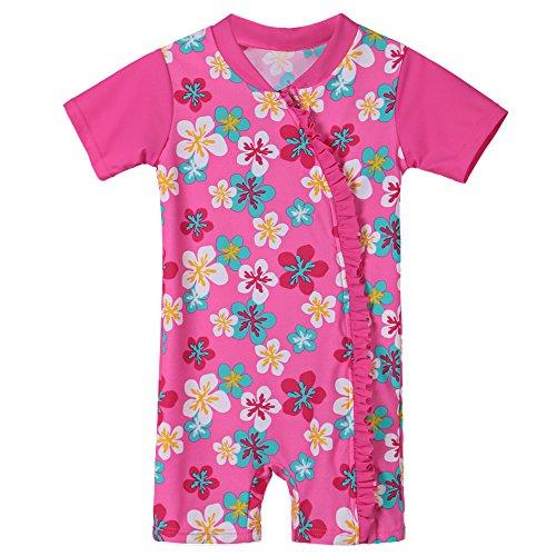HUAANIUE Bébé Fille Maillot de Bain avec Motif de Cyan Fleur Combinaison de Natation 0-3 Ans Combinaison Maillot Anti-UV