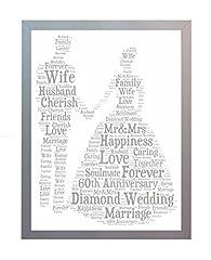 Idea Regalo - Oaktree Gifts - Cornice con stampa per il 60° anniversario di matrimonio, nozze di diamante, con parole in inglese, dimensione: A4 Foto ricordo per mamma, papà, nonni, amici e familiari.