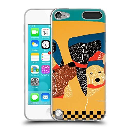 Head Case Designs Offizielle Stephen Huneck Das Satz-Instinkt-Taxi Hund-Gruppe Soft Gel Hülle für Apple iPod Touch 5G 5th Gen Pac Ipod