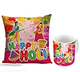 Happy holi latest design HD printed cushion cover 12 x 12 with filler and Ceramic mug 350ml specially for holi gift by Style Crome
