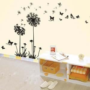 Walplus (TM) Huge Dandelion Flower Wall Stickers - Home Decoration, 60cm x 120cm, PVC, Transparent Borders, Removable, Self-Adhesive, Black