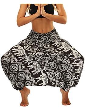 Lvguang Pantalones De Estilo Hippie De Los Mujer De La Vendimia del Estilo Nacional Pantalones Holgados Bombachos...