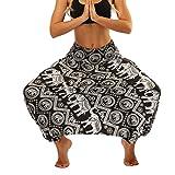 Lvguang Pantalones De Estilo Hippie De Los Mujer De La Vendimia del Estilo Nacional Pantalones Holgados Bombachos Ocasionales del Hippie (Estilo10, One Size)
