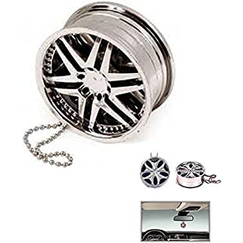 Ramanta Funky Alloy Wheel Style Hanging Car Air Freshener Gel Perfume for Nissan Terrano (Pack