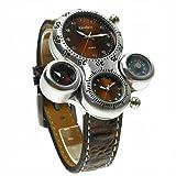 OrrOrr OULM Militär Dual-Zifferblatt Dual-Uhrwerk Armbanduhr Herren Quarzuhr Sport NEU braun