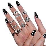 Ringe Set, Czemo 10 Stück Vintage Silber Midi Ringe Damen Knuckle Ring Boho Fingerring-Set