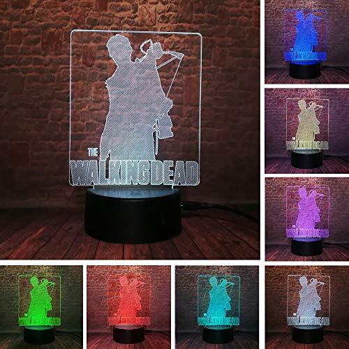 USTV Drama Figur Aktion The Walking Dead Rick Daryl 3D LED Nachtlicht 7 ColorChange Lampe Jungen Mann Fans Weihnachtsgeschenke