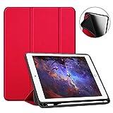 Fintie SlimShell Hülle für iPad 9.7 2018 - Superleicht Soft TPU Rückseite Abdeckung Schutzhülle mit eingebautem Apple Pencil Halter, Auto Schlaf/Wach für iPad 6. Generation, Rot