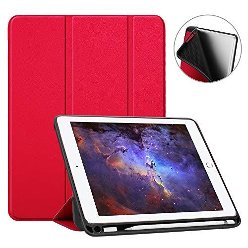 Fintie SlimShell Hülle für iPad 9.7 2018 - Superleicht Soft TPU Rückseite Abdeckung Schutzhülle mit eingebautem Apple Pencil Halter, Auto Schlaf/Wach für iPad 6. Generation, Rot (Ipad Soft-cover)