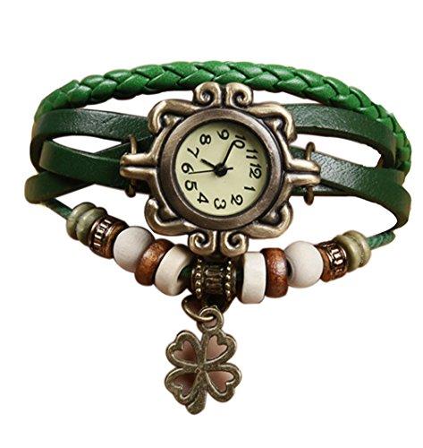 Demarkt Retro Vintage Klee Design Damen Armbanduhr Armreif Uhr Anhänger Spangenuhr Quarzuhren (Grün) (Anhänger Uhren)