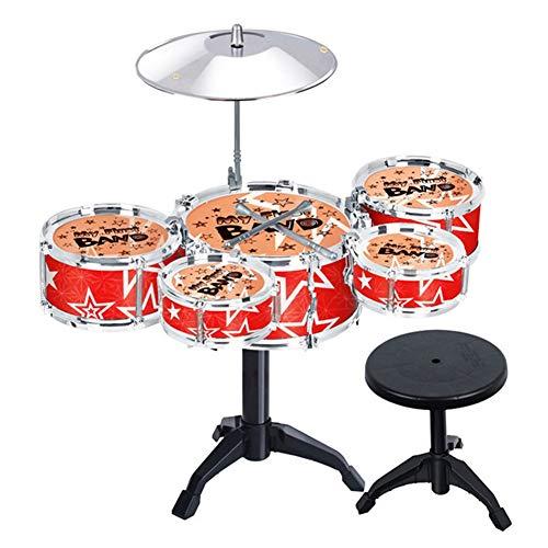 HUANGFU Drum Set Simulazione per Bambini Jazz Drum 5 Pezzi Set Batteria Primaria Batteria Puzzle Batteria per Bambini Beat Strumento Musicale Giocattolo (Color : Red)