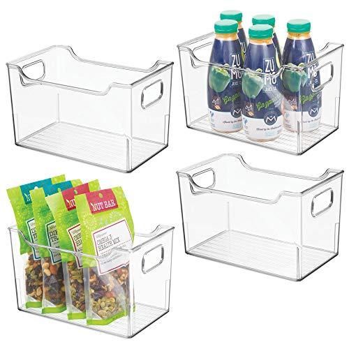 Mdesign set da 4 contenitori per frigorifero - contenitore per alimenti freschi o confezionati - ideale come contenitore frigo o dispensa per latticini, frutta, altro - trasparente