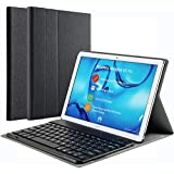 KILISON Huawei MediaPad M5 10.8 Tastiera Custodia Cover, Slim Pelle PU Custodia Case [QWERTY Layout] con Rimovibile Wireless Keyboard Tastiera per Huawei MediaPad M5 10.0 PRO / M5 10.8 Pollici-Nero