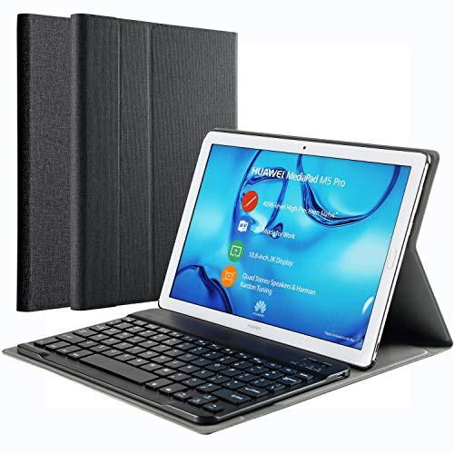 KILISON Huawei MediaPad M5 10.8 Hülle Tastatur - [QWERTZ Layout] PU Leder Tasche mit Standfunktion Magnetisch Abnehmbarer Wireless Keybord Case für Huawei Mediapad M5 10.8/10.8 Pro 10,8 Zoll, Schwarz