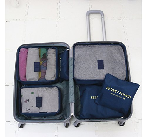 6set Pack tasche valigetta Organizer borsa da viaggio sacchetto kleidertasche cultura borsa valigetta Borsa per scarpe Organizer Stoccaggio Borsa in nylon, Dunkelblau, L Dunkelblau