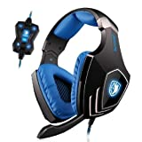 PC Gaming Headset ,SADES A60 7.1 Virtual Surround Sound Gaming Headphone with Microphone USB Over the ear Headphone LED Light Vibration