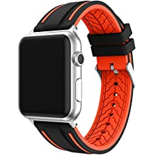 EL-move Apple Osservare Cinghie,38mm/42mm per Sport Watch Band in Silicone per Apple Watch Apple Serie 1 Serie 2 Serie 3 Serie 4 (Black Orange 38MM)