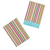 KitchenCraft 'Multi Stripe' 100% Cotton Colourful Printed Tea Towels, 70 x 47 cm - Multi-Colour (Set of 2)